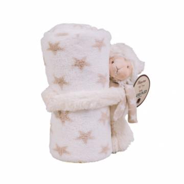 Naturtex Fehér baby pléd Dolly báránnyal 75x100 cm