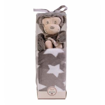 Naturtex Szürke baby pléd majommal PVC boxban 75x100 cm