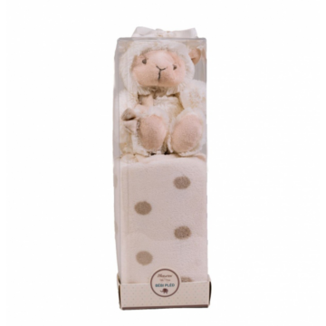 Naturtex Bézs baby pléd báránnyal PVC boxban 75x100 cm