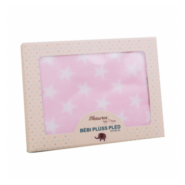 Naturtex Pink Star baby plüss pléd 75x100 cm