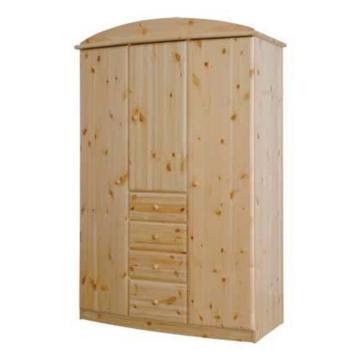 CSANÁD 3 ajtós, 4 fiókos íves, fenyő szekrény 130x194x62 cm