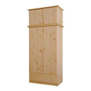 CSANÁD 2 ajtós, 1 fiókos, akasztós fenyő szekrény 103x190x55 cm