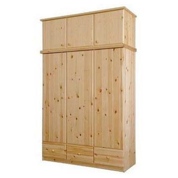 CSANÁD 3 ajtós, 3 fiókos fenyő szekrény 151x194x56 cm