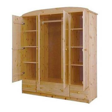 CSANÁD 4 ajtós, 3 fiókos fenyő szekrény 171x194x56 cm