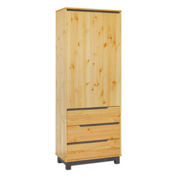 LEXA 3 fiókos, akasztós fenyő szekrény 195x74x55 cm