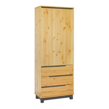 LEXA 3 fiókos, polcos fenyő szekrény 195x74x55 cm