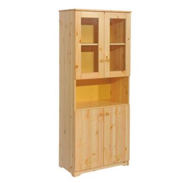 BALÁZS 2 ajtós, nyitott, üveges fenyő szekrény 186x74x40 cm